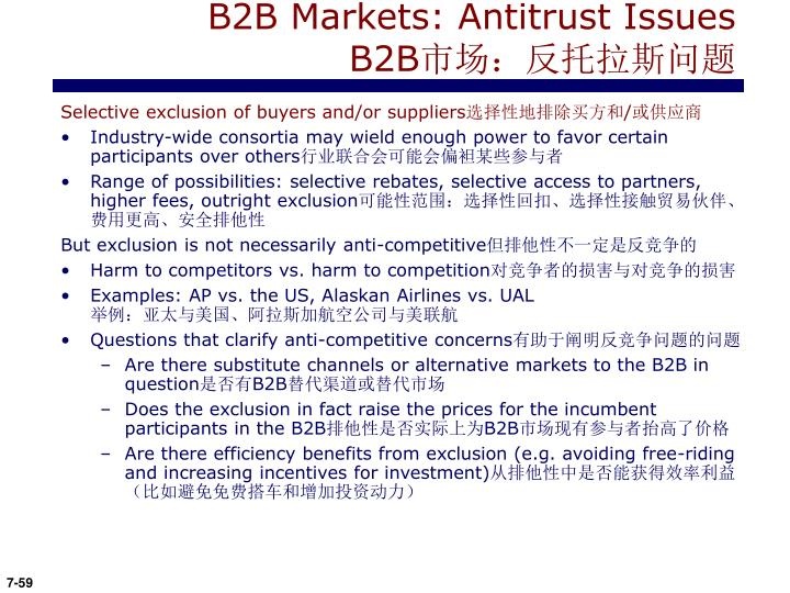 B2B Markets: Antitrust Issues B2B