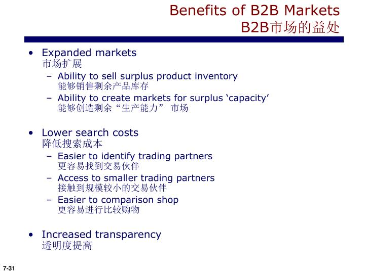 Benefits of B2B Markets