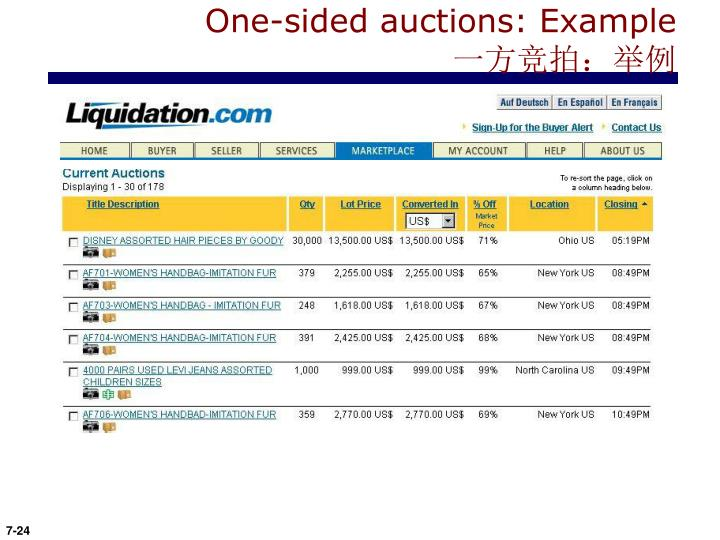 One-sided auctions: Example