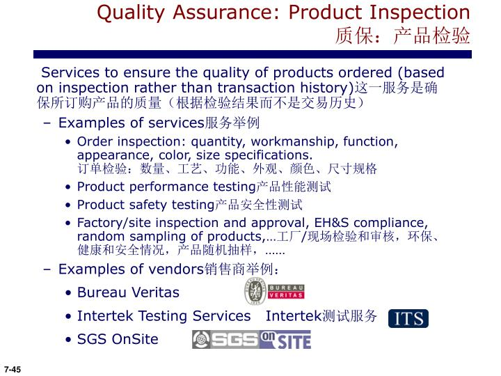 Quality Assurance: Product Inspection