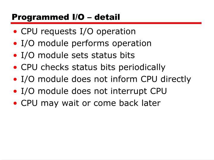 Programmed I/O – detail