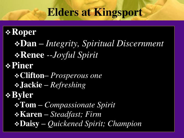 Elders at Kingsport
