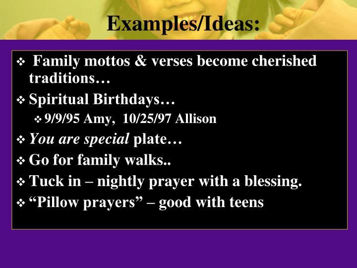 Examples/Ideas:
