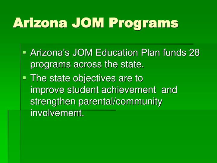 Arizona jom programs
