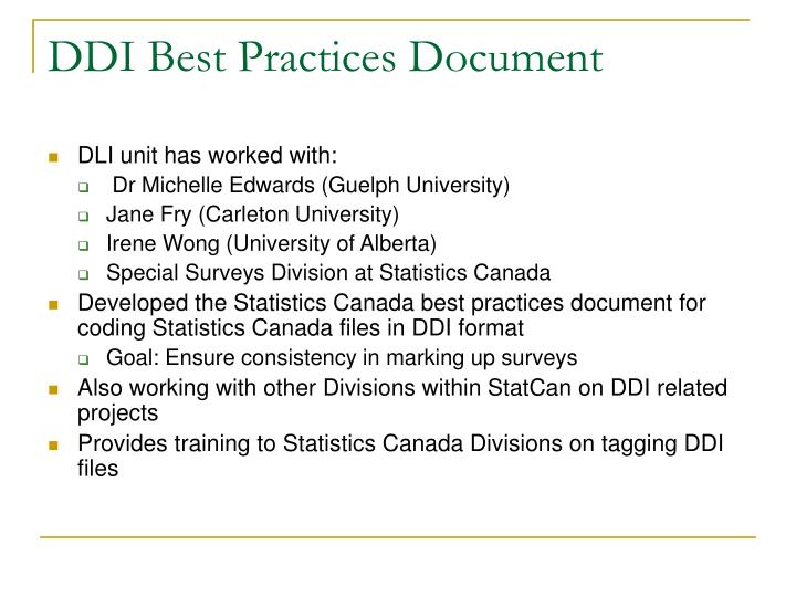DDI Best Practices Document