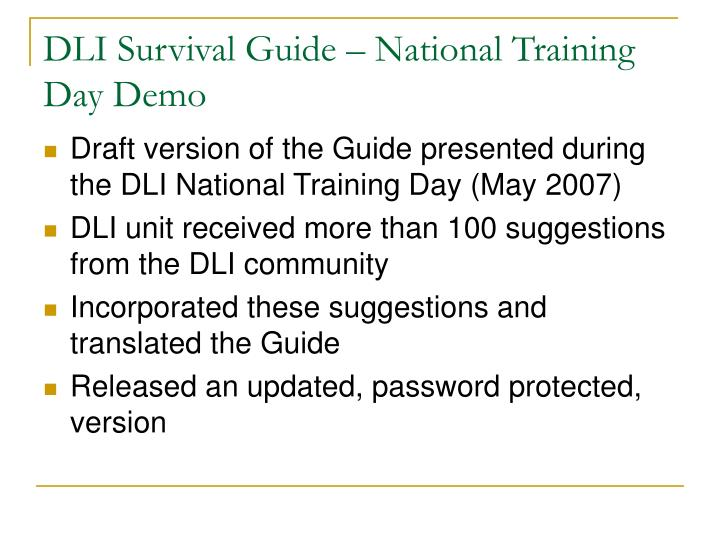 DLI Survival Guide – National Training Day Demo
