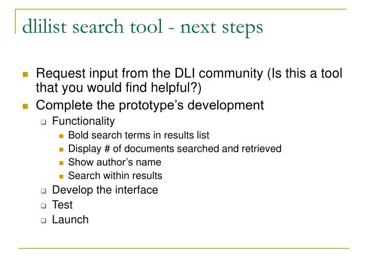 dlilist search tool - next steps