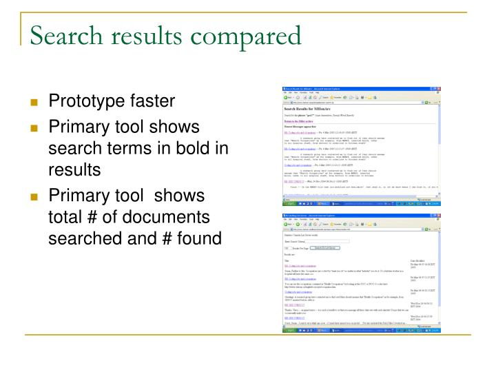 Search results compared
