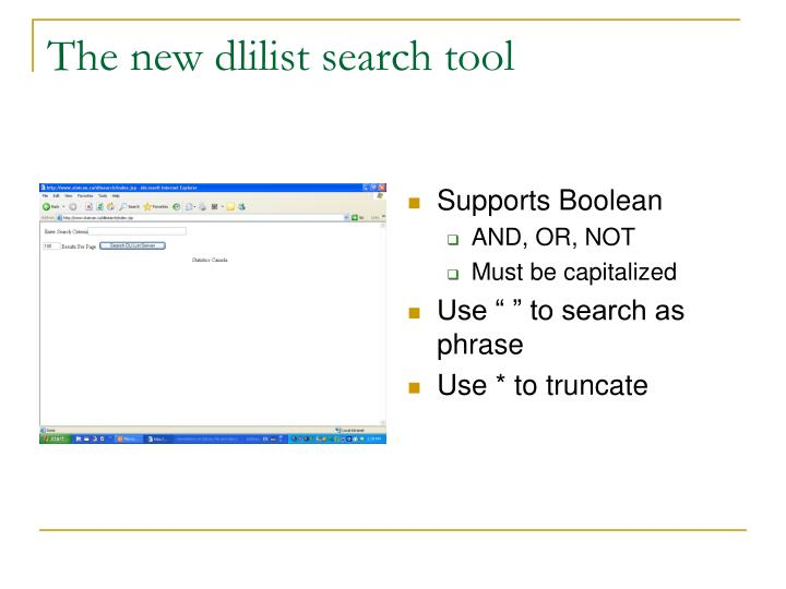 The new dlilist search tool