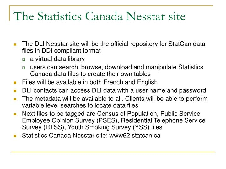 The Statistics Canada Nesstar site
