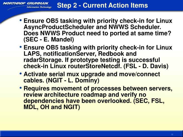 Step 2 - Current Action Items