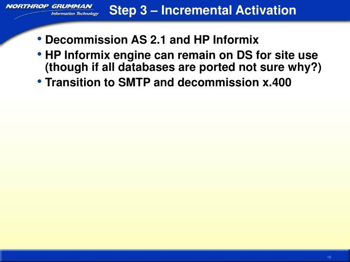Step 3 – Incremental Activation