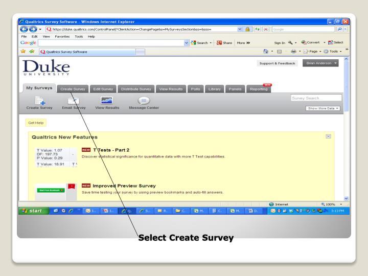 Select Create Survey
