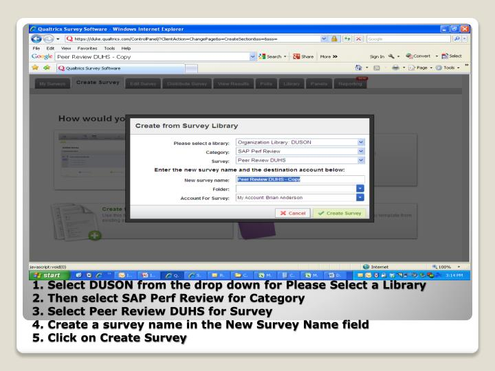 1. Select DUSON from the drop down for Please Select a Library