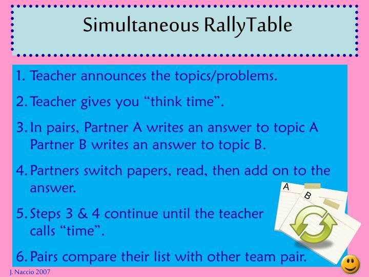 Simultaneous RallyTable