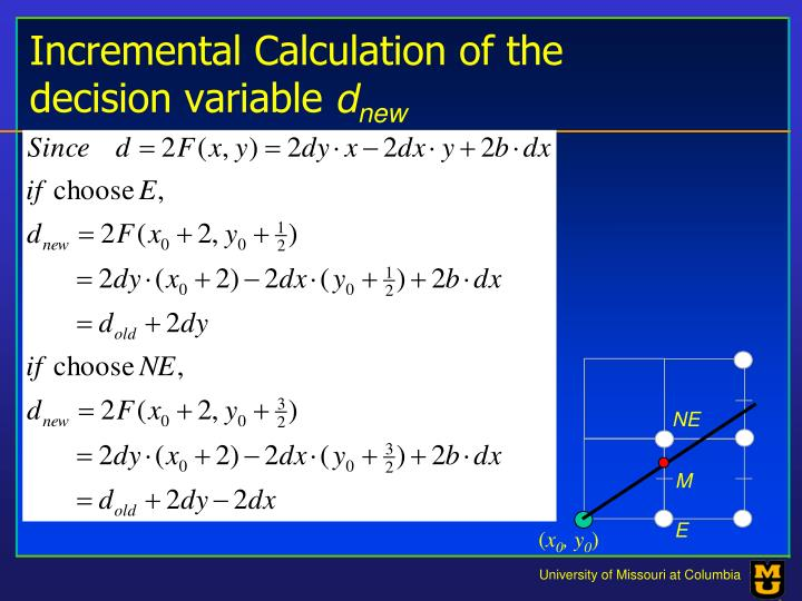 Incremental Calculation of the decision variable