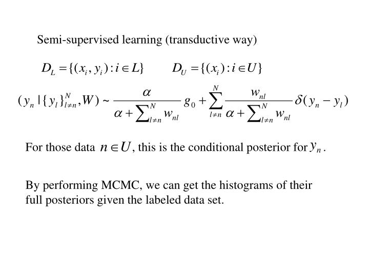 Semi-supervised learning (transductive way)