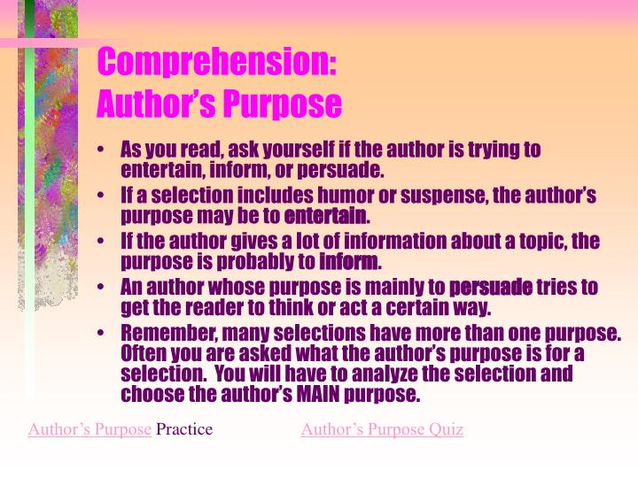 Comprehension: