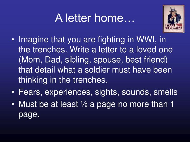 A letter home…