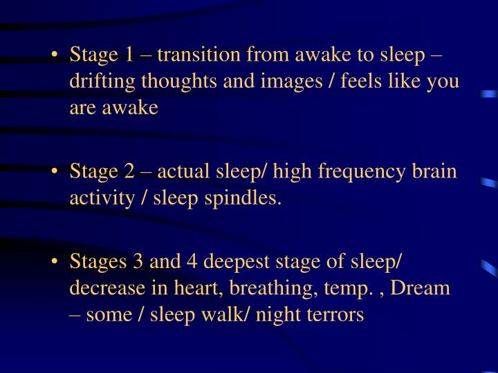 Stage 1 – transition from awake to sleep – drifting thoughts and images / feels like you are awake