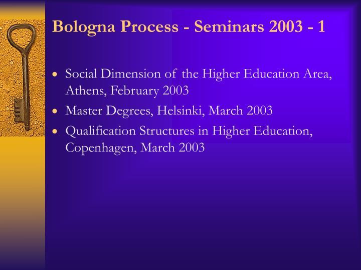 Bologna Process - Seminars 2003 - 1