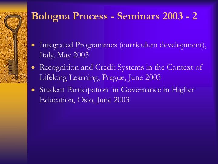 Bologna Process - Seminars 2003 - 2