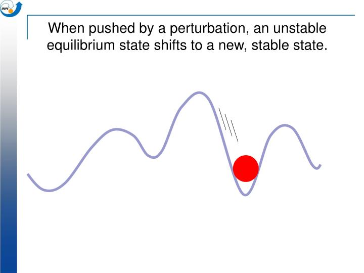 When pushed by a perturbation, an unstable equilibrium state shifts to a new, stable state.