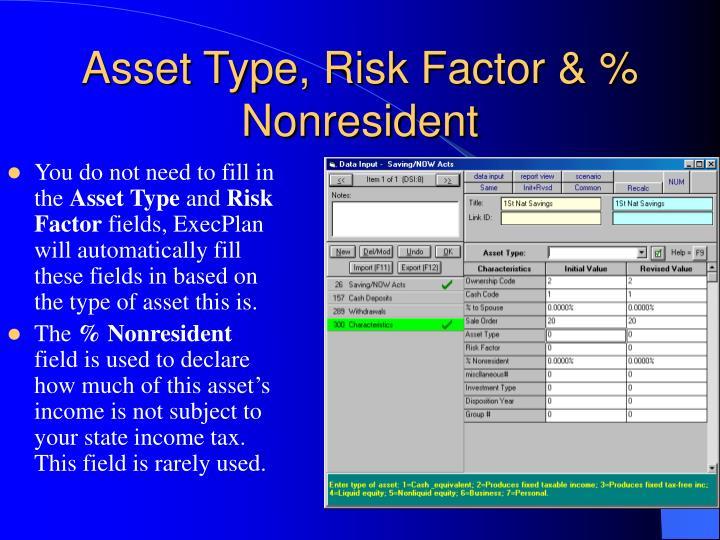 Asset Type, Risk Factor & % Nonresident