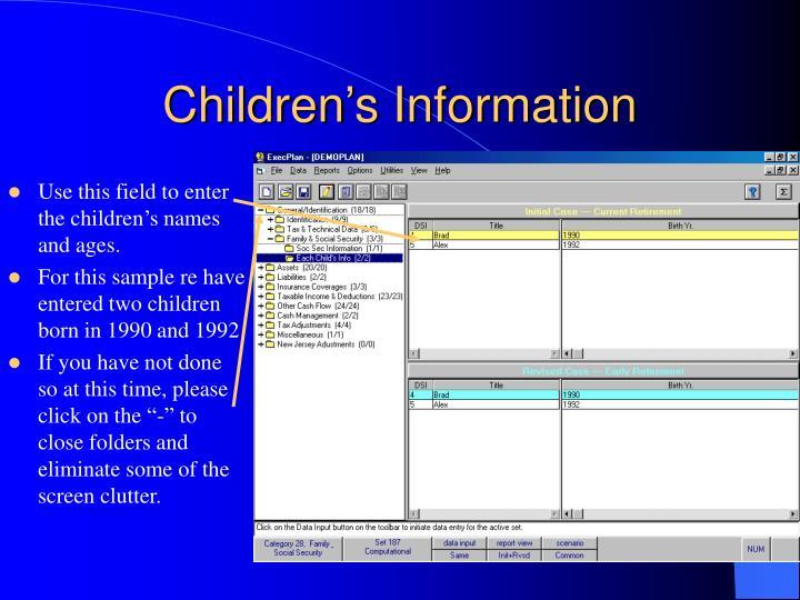 Children's Information