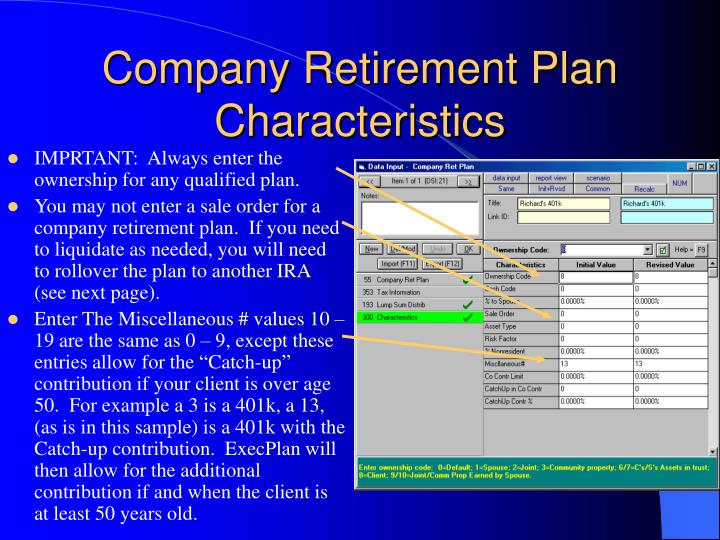 Company Retirement Plan Characteristics
