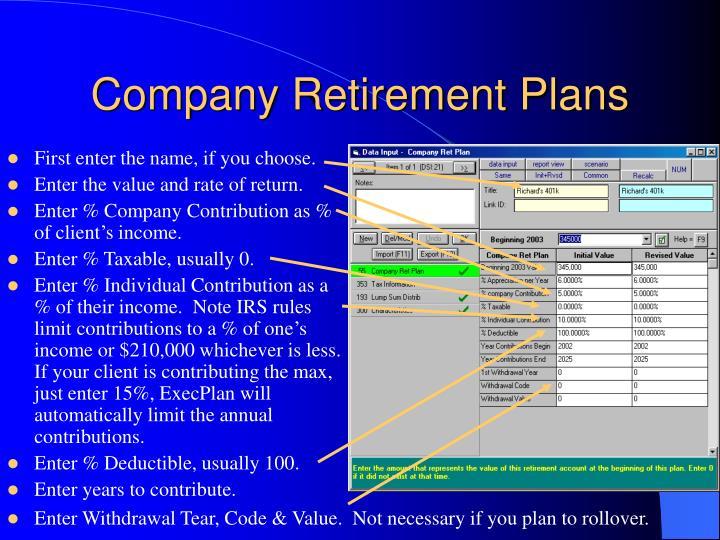 Company Retirement Plans