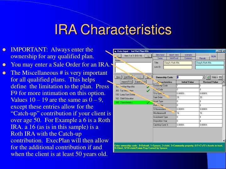 IRA Characteristics