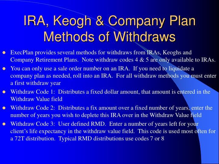 IRA, Keogh & Company Plan Methods of Withdraws