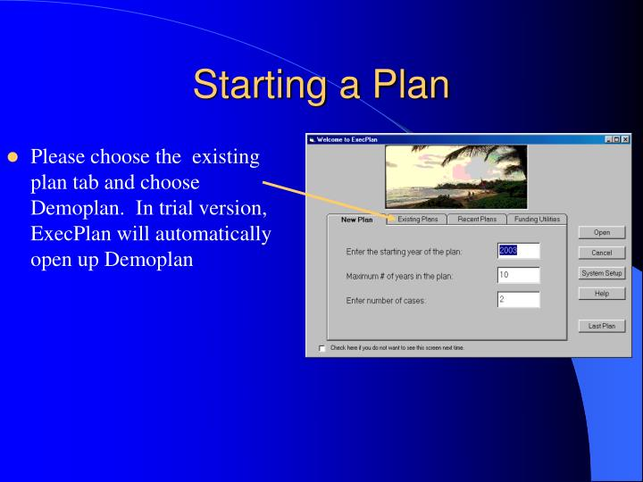 Starting a Plan