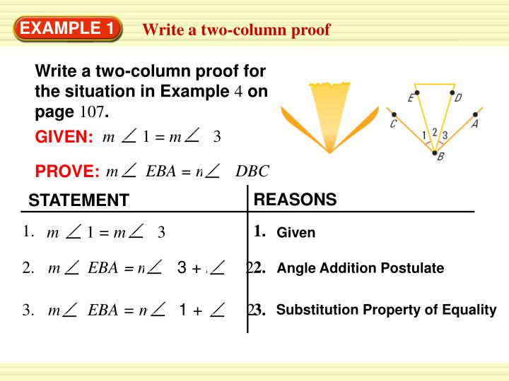Write a two-column proof for the situation in Example