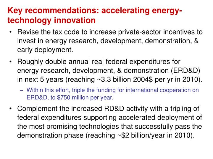 Key recommendations: accelerating energy-technology innovation