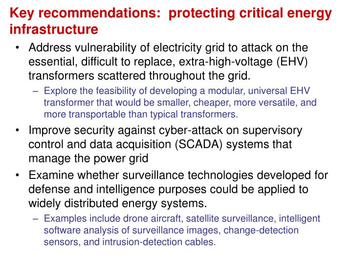Key recommendations:  protecting critical energy infrastructure