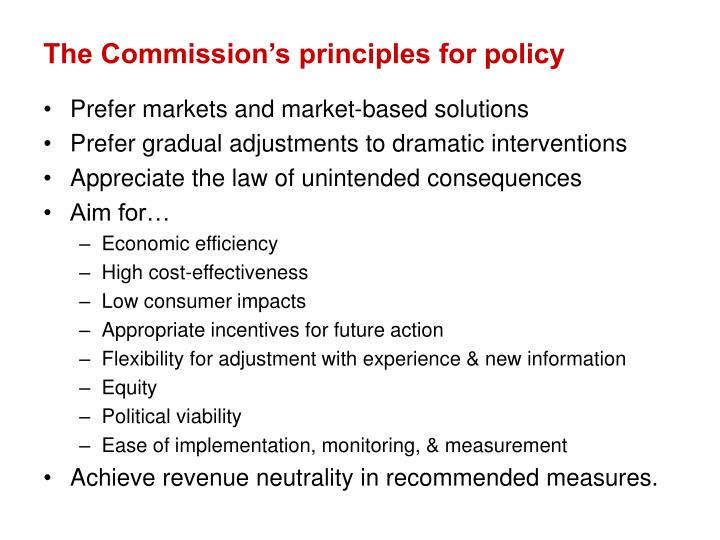 The Commission's principles for policy