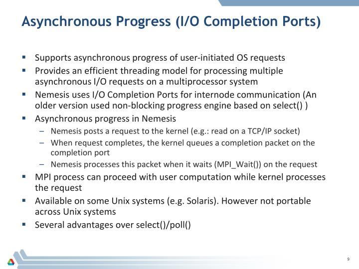 Asynchronous Progress (I/O Completion Ports)