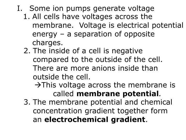Some ion pumps generate voltage