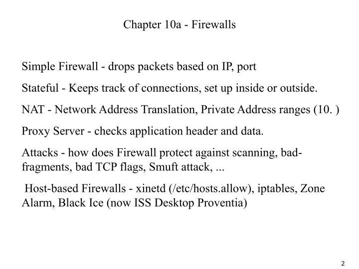 Chapter 10a - Firewalls