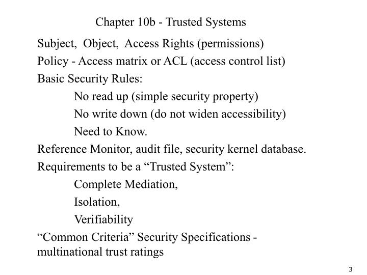 Chapter 10b - Trusted Systems