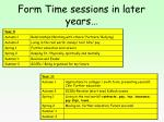 form time sessions in later years