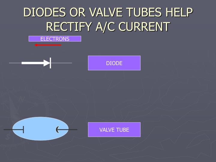 DIODES OR VALVE TUBES HELP RECTIFY A/C CURRENT