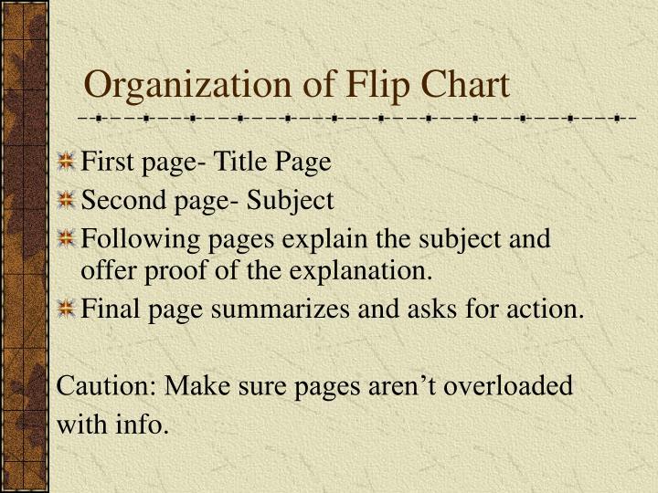 Organization of Flip Chart