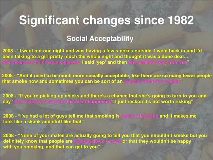 Significant changes since 1982