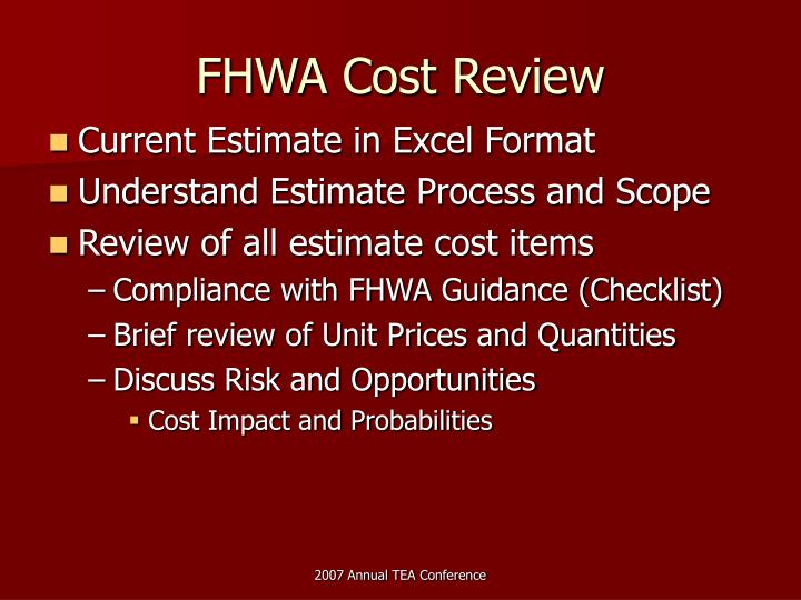 FHWA Cost Review