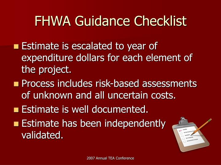 FHWA Guidance Checklist