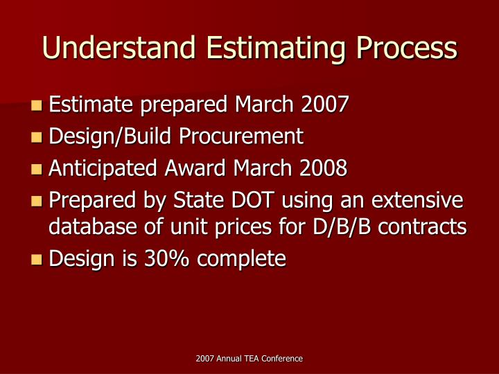 Understand Estimating Process