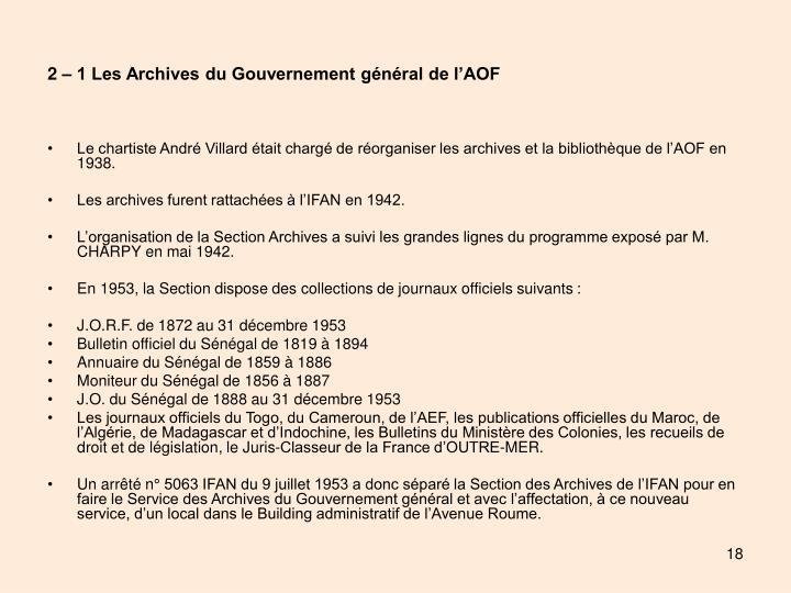 2 – 1 Les Archives du Gouvernement général de l'AOF